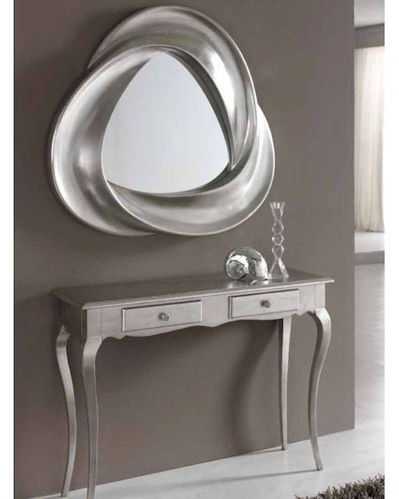 Modern Console Table And Mirror Set In Silver Finish 33C61 pertaining to Mirrors Console Table (Image 11 of 15)