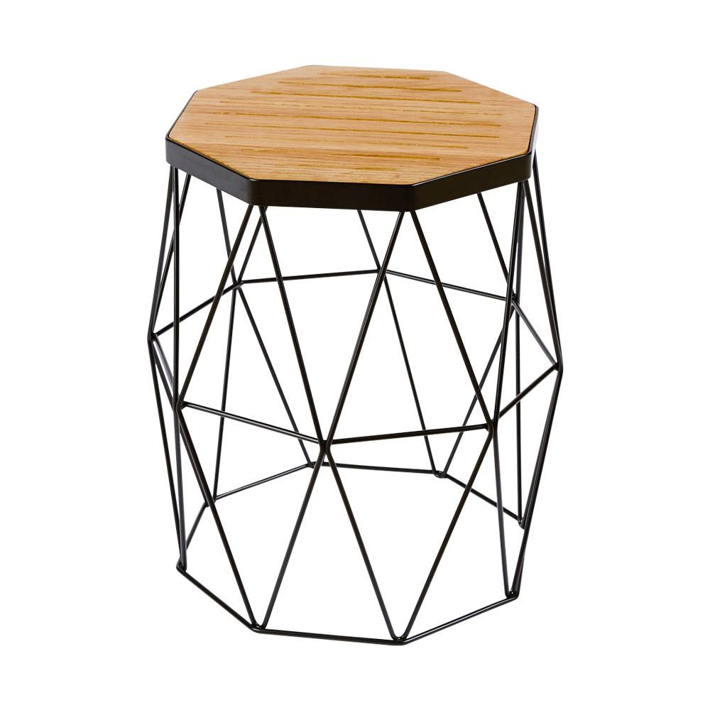 Modern Contemporary Oak Side Table/stool - Black Steel Metal Base regarding Contemporary Oak Coffee Table (Image 14 of 15)