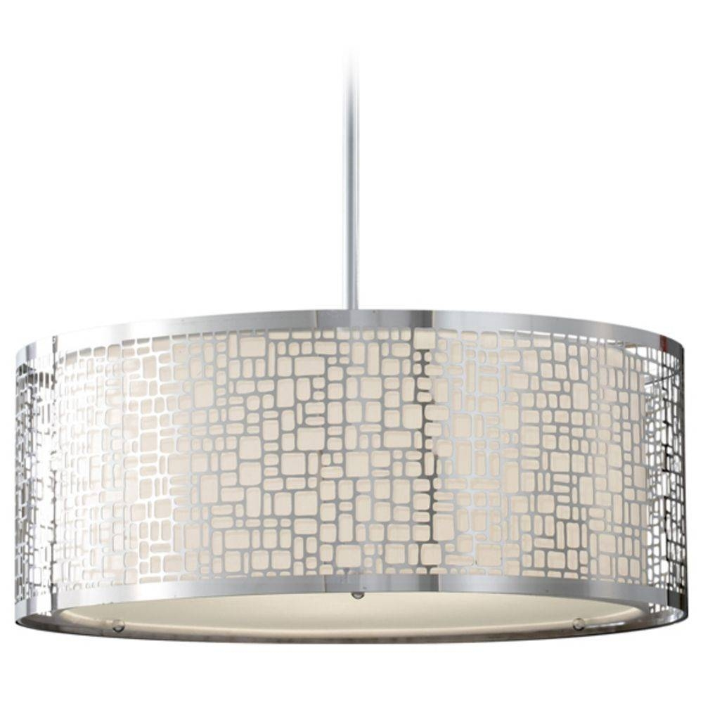Modern Drum Pendant Light In Chrome Finish | P033-077 for Drum Pendant Lights (Image 11 of 15)