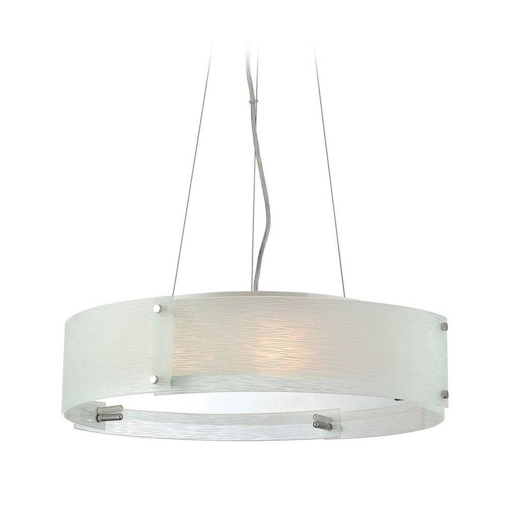 Modern Drum Pendant Light With Textured Glass Shade | Ls-19420C for Drum Pendant Lights (Image 12 of 15)