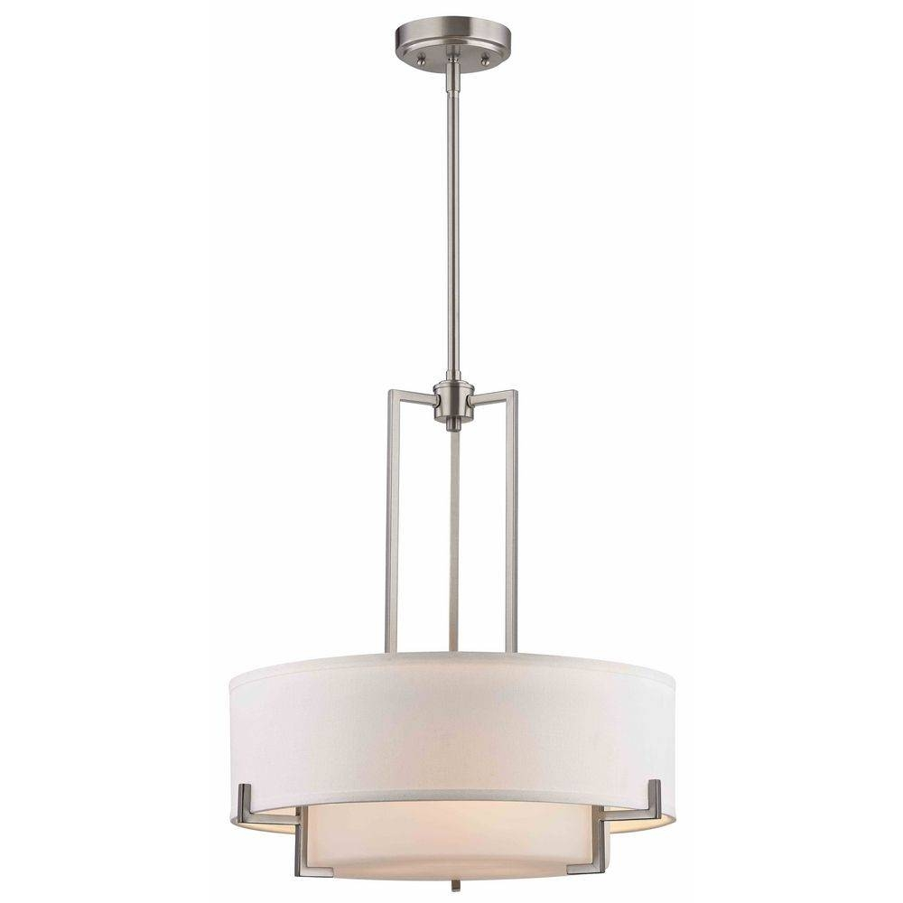 Modern Drum Pendant Light With White Glass In Satin Nickel Finish within Drum Pendant Lighting (Image 12 of 15)