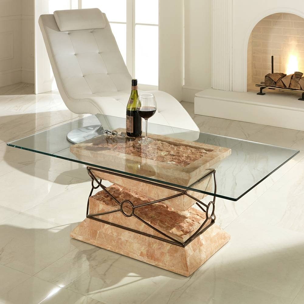 Modern Fossil Stone, Glass And Metal Coffee Table Futuro with Glass And Stone Coffee Table (Image 10 of 15)