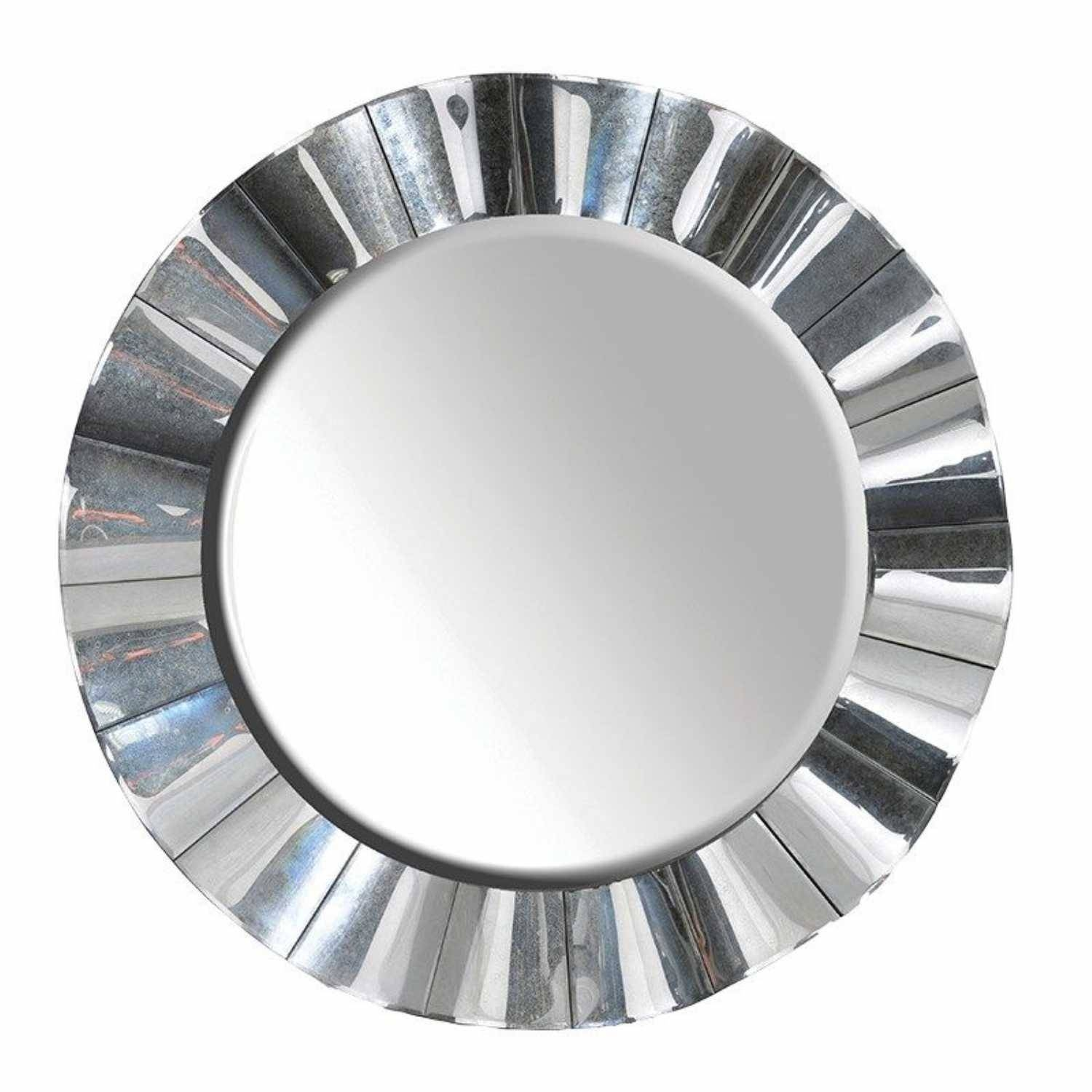 Modern Funky Large Venetian Glass Round Wavy Edge Wall Mirror for Funky Wall Mirrors (Image 10 of 15)