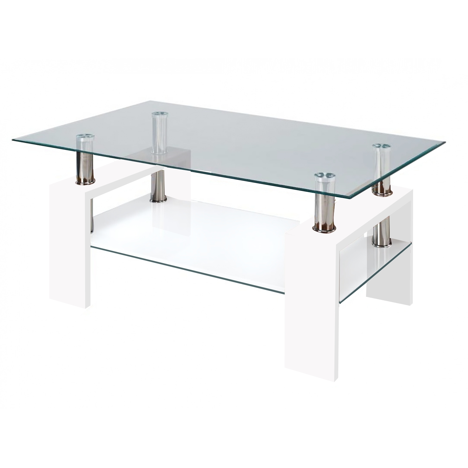 Modern Glass White Coffee Table With Shelf Contemporary inside Rectangle Glass Coffee Table (Image 11 of 15)