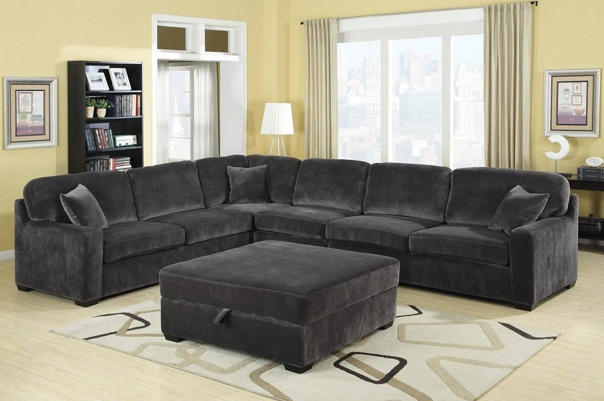 Modern Grey Sectional Sofa Polyester Rayon Fabric Three Solid In Goose Down  Sectional Sofas (Photo