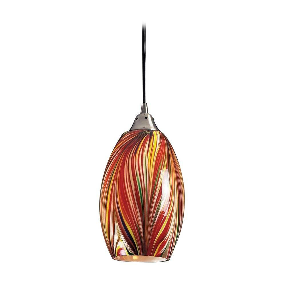 Modern Mini-Pendant Light With Multi-Color Glass | 517-1M with regard to Art Glass Mini Pendant Lights (Image 10 of 15)