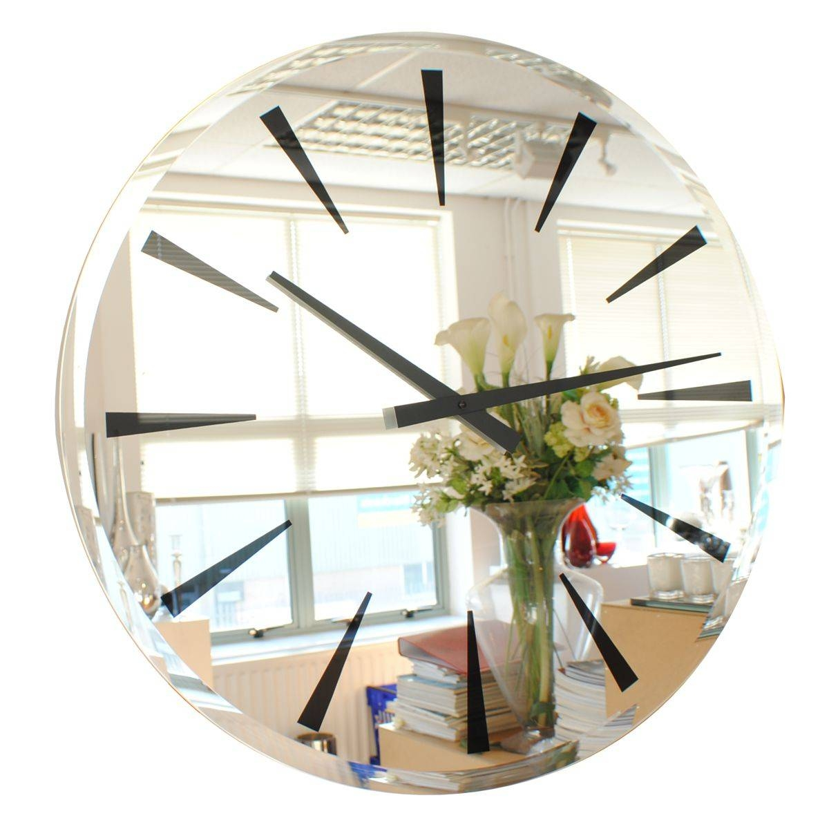 Modern Mirror Wall Clock|Contemporary Heaven Us in Modern Bevelled Mirrors (Image 13 of 15)