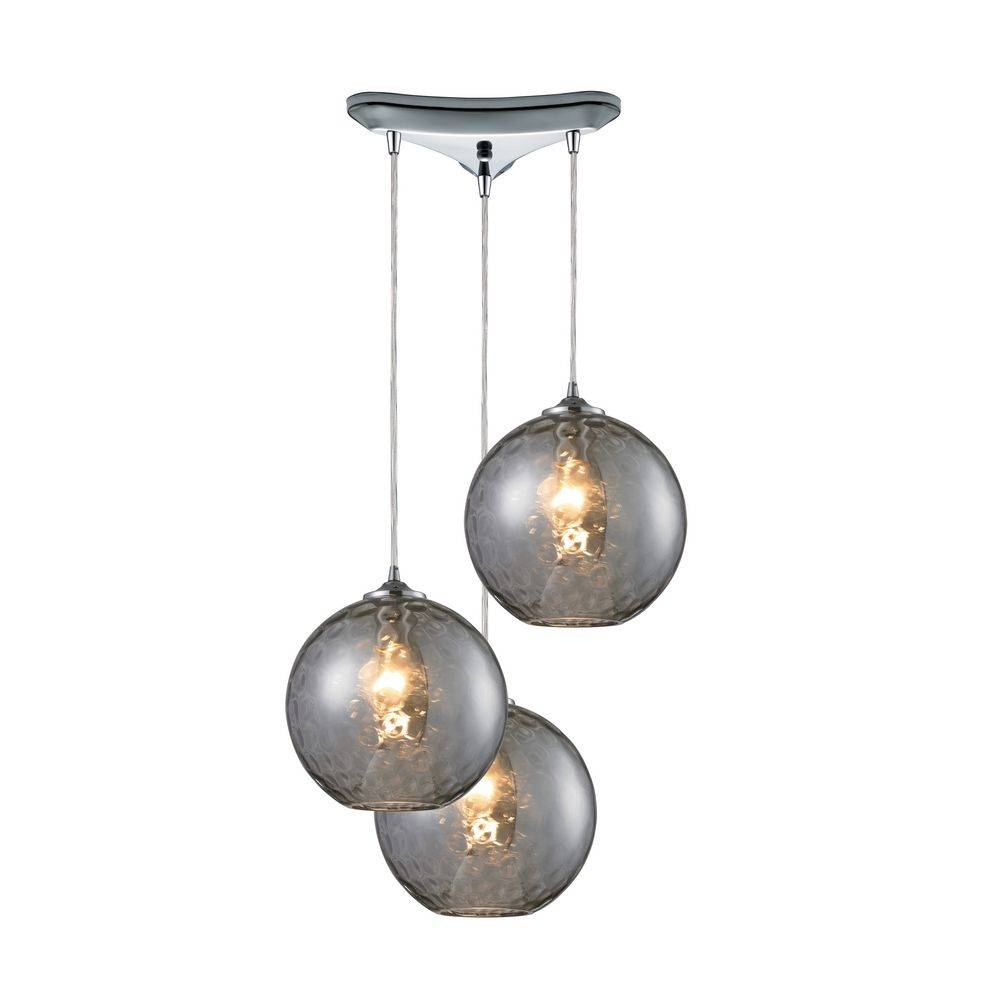 Modern Multi-Light Pendant Light With Grey Glass And 3-Lights intended for 3 Pendant Lights Kits (Image 10 of 15)