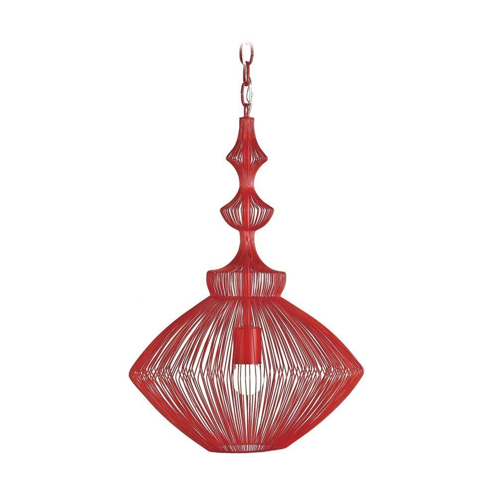 Modern Red Pendant Light With Wire Frame | 9068 | Destination Lighting Intended For Modern Red Pendant Lighting (View 14 of 15)