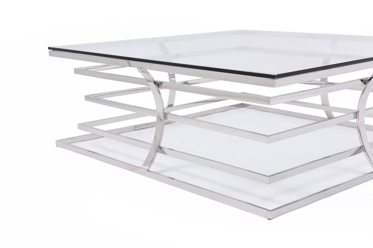 Modrest Snyder Modern Square Glass Coffee Table within Square Glass Coffee Table (Image 8 of 15)