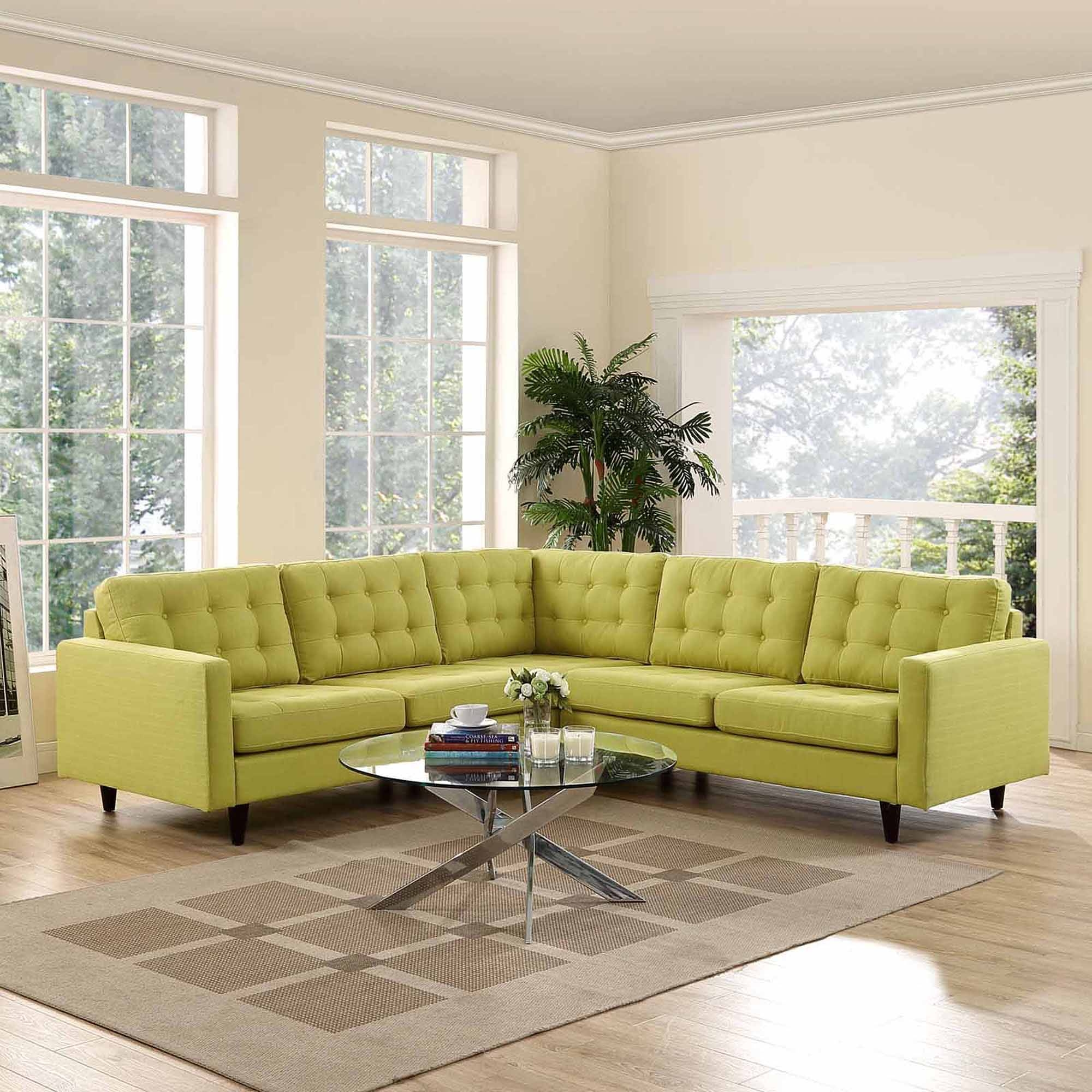 Modway Empress 3 Piece Fabric Sectional Sofa Set, Multiple Colors In Yellow Sectional Sofas (View 15 of 15)