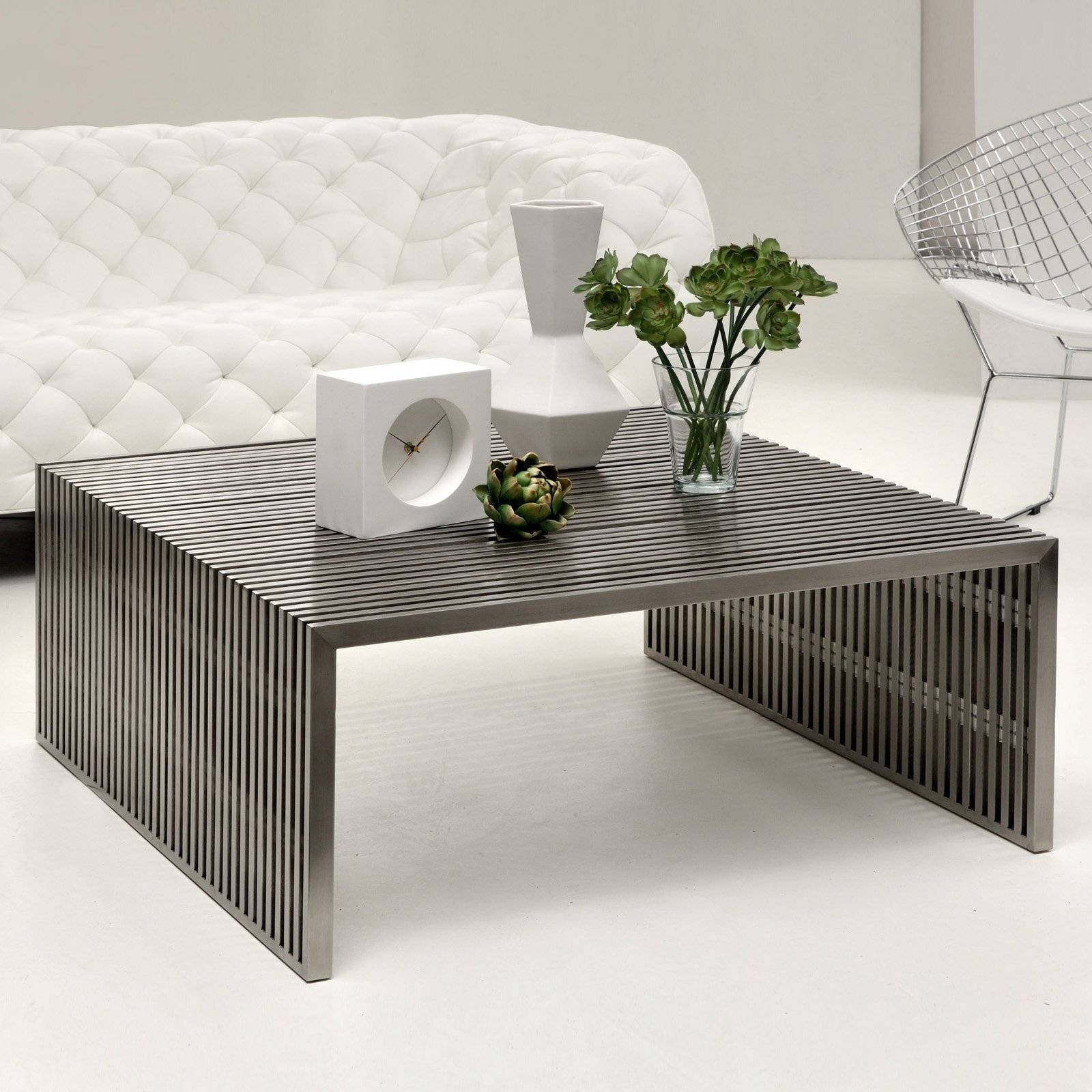 Modway Small Gridiron Stainless Steel Coffee Table With Tempered regarding Large Modern Coffee Tables (Image 13 of 15)