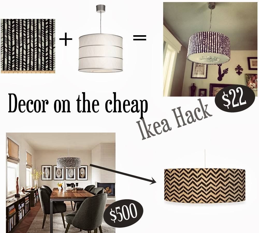 Momma Maven: Decor On The Cheap: Herringbone Drum Pendant Ikea Hack regarding Ikea Drum Lights (Image 10 of 15)