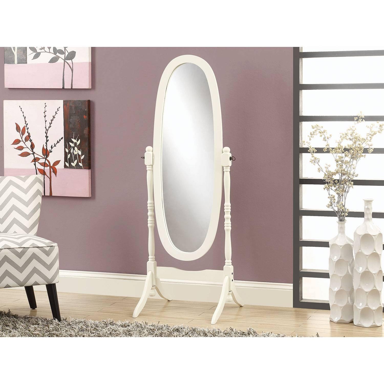 Monarch Antique Oval Cheval Mirror (I3102) - White : Mirrors in Antique White Oval Mirrors (Image 13 of 15)