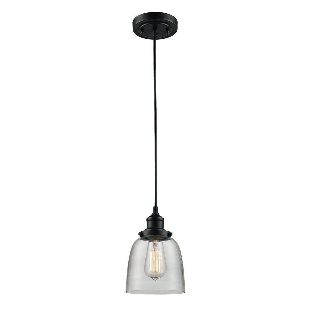 Monteaux Lighting 1-Light Oil-Rubbed Bronze Glass Mini Pendant in Oil Rubbed Bronze Pendant Lights (Image 9 of 15)