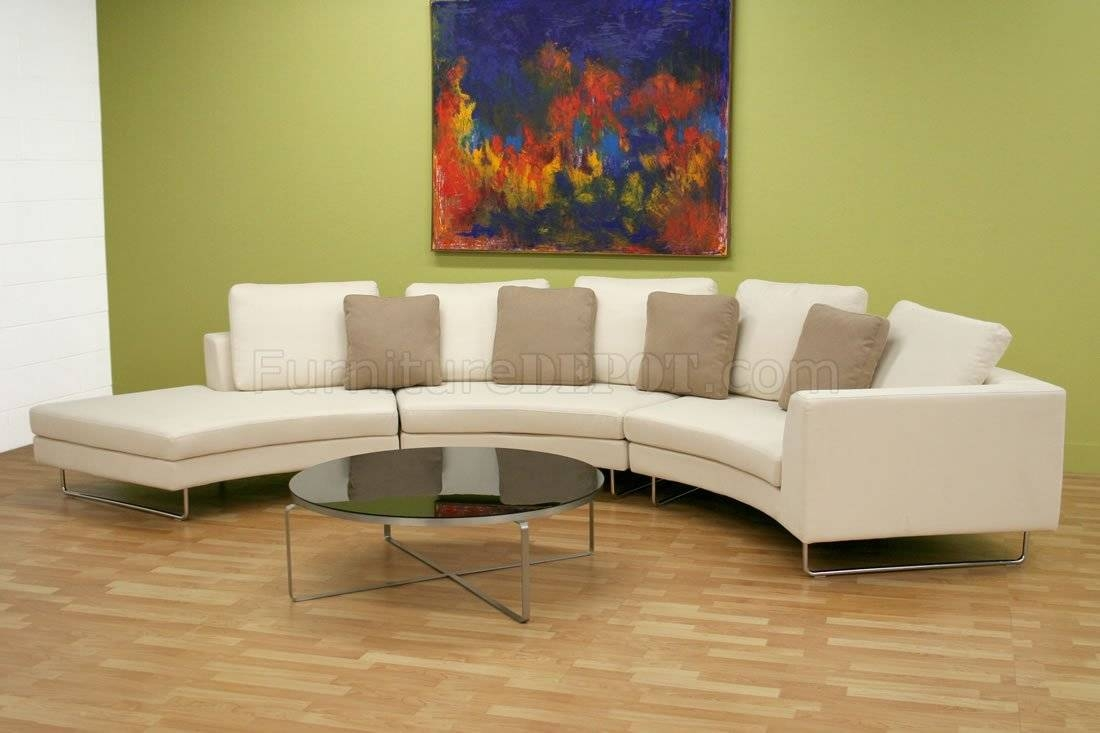 Moon Shape Microfiber Sectional Sofa & Coffee Table Set With Regard To Half Moon Sectional Sofas (View 11 of 15)