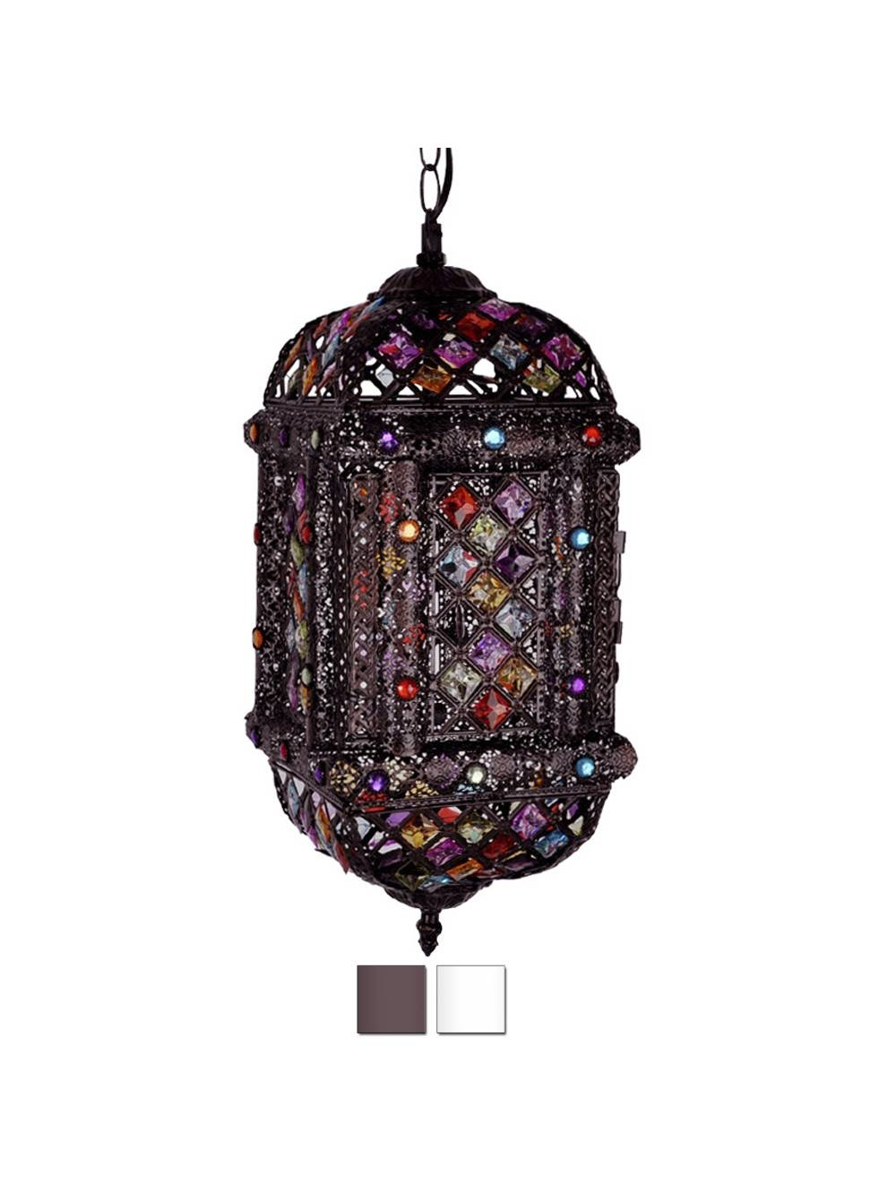 Moroccan Style Lantern In Painted Satin Finish With Acrylic Jewel intended for Moroccan Style Pendant Ceiling Lights (Image 11 of 15)