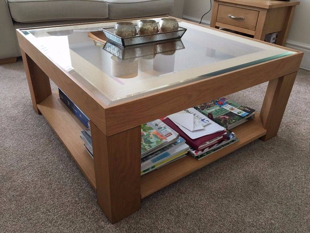 M&s Solid Oak Coffee Table With Glass Top | In Waterlooville inside Mands Coffee Tables (Image 8 of 15)