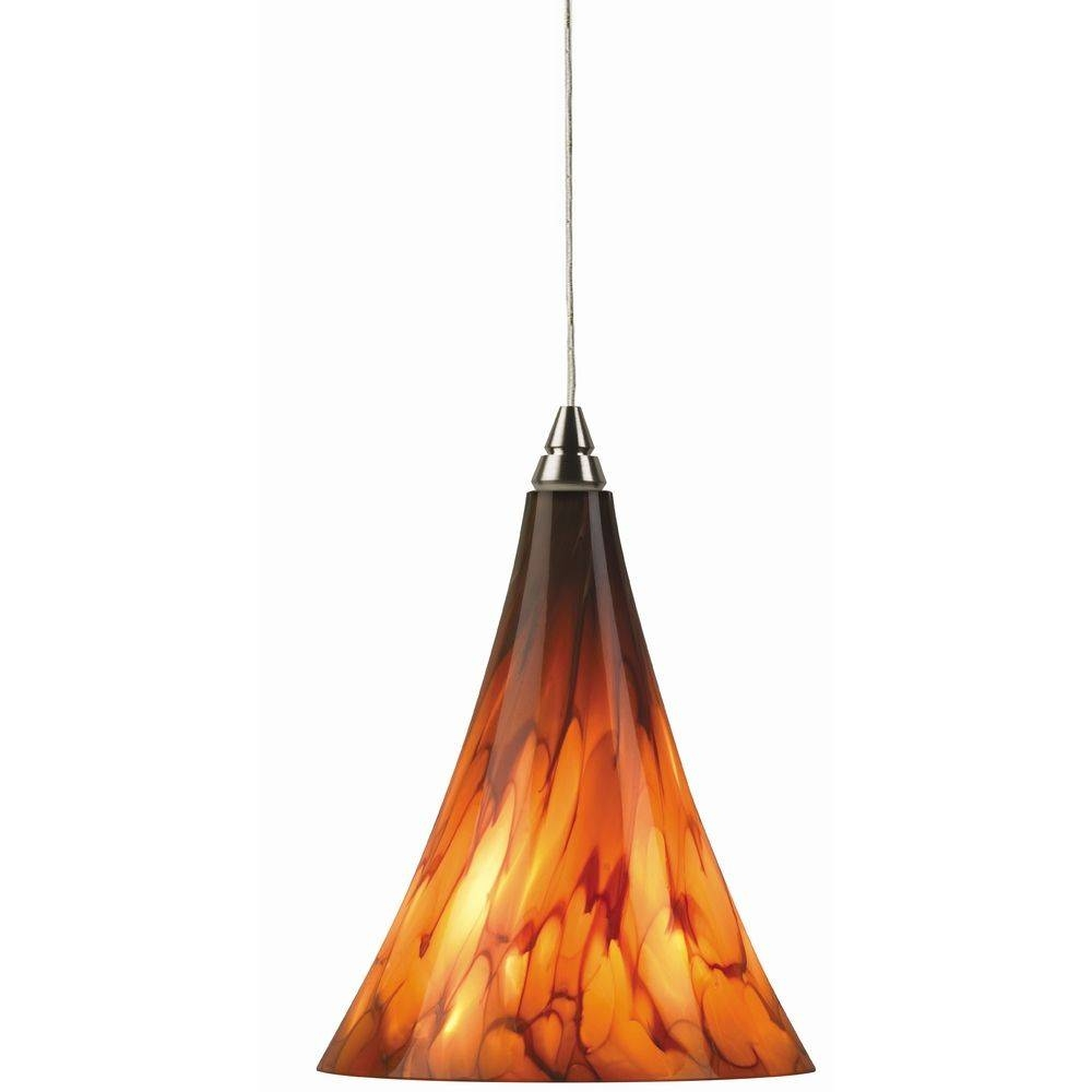 Murano Art Glass Mini-Pendant Light In Satin Nickel Finish | 700 throughout Art Glass Mini Pendant Lights (Image 11 of 15)