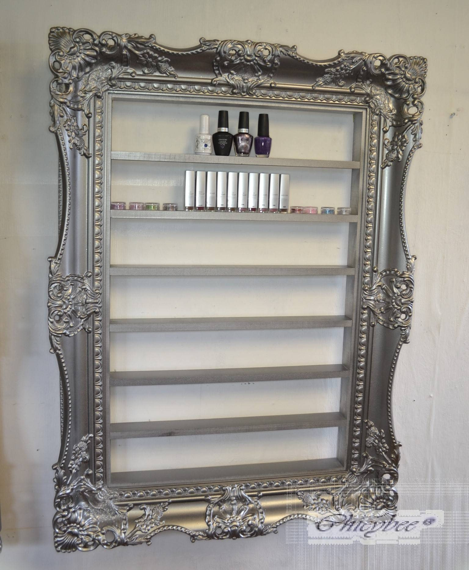 Nail Polish Rack Display Frame Very Wide And Ornate Pewter Silver Within Pewter Ornate Mirrors (View 7 of 15)