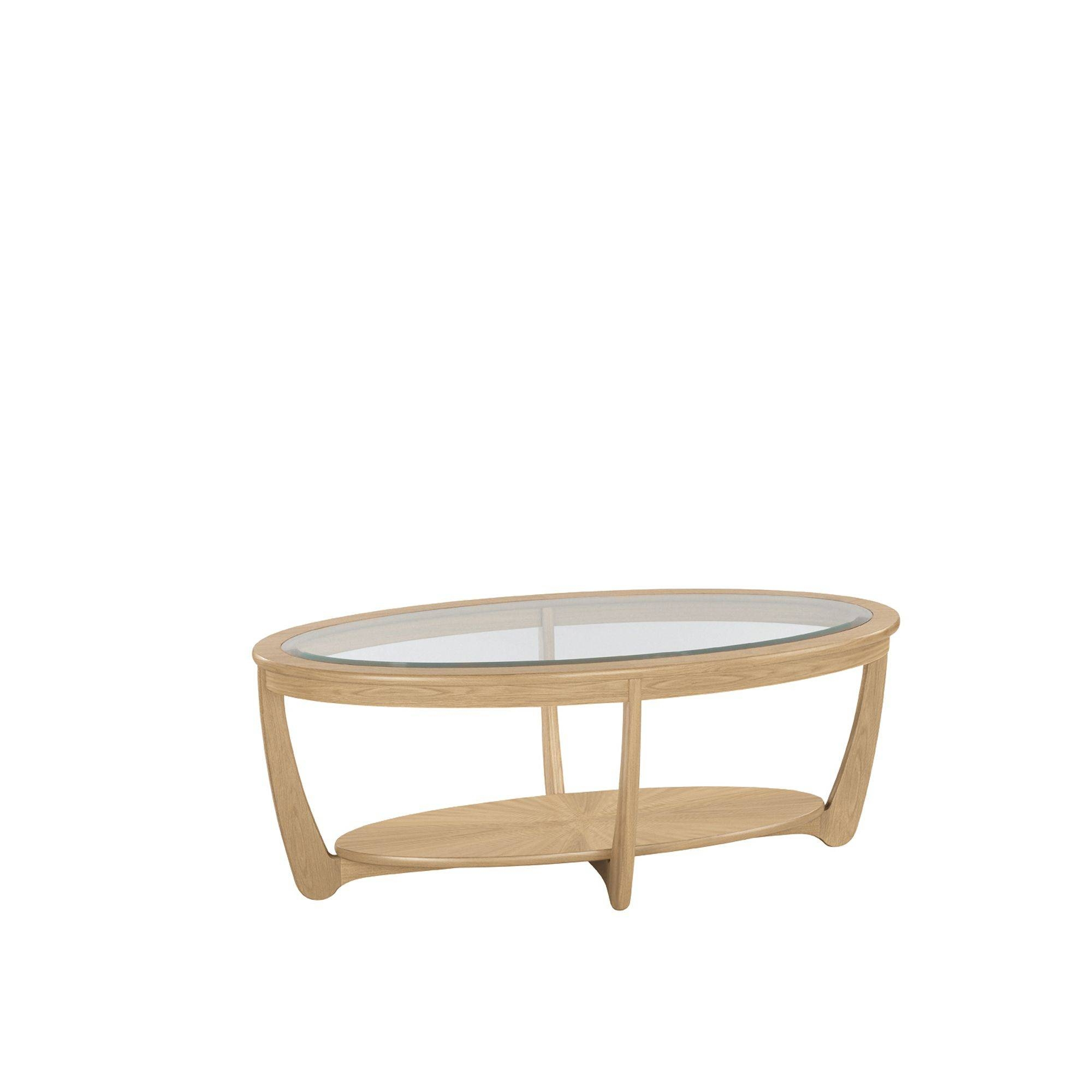 Nathan Shades Oak Glass Top Oval Coffee Table - Coffee Tables throughout Glass Oak Coffee Tables (Image 13 of 15)