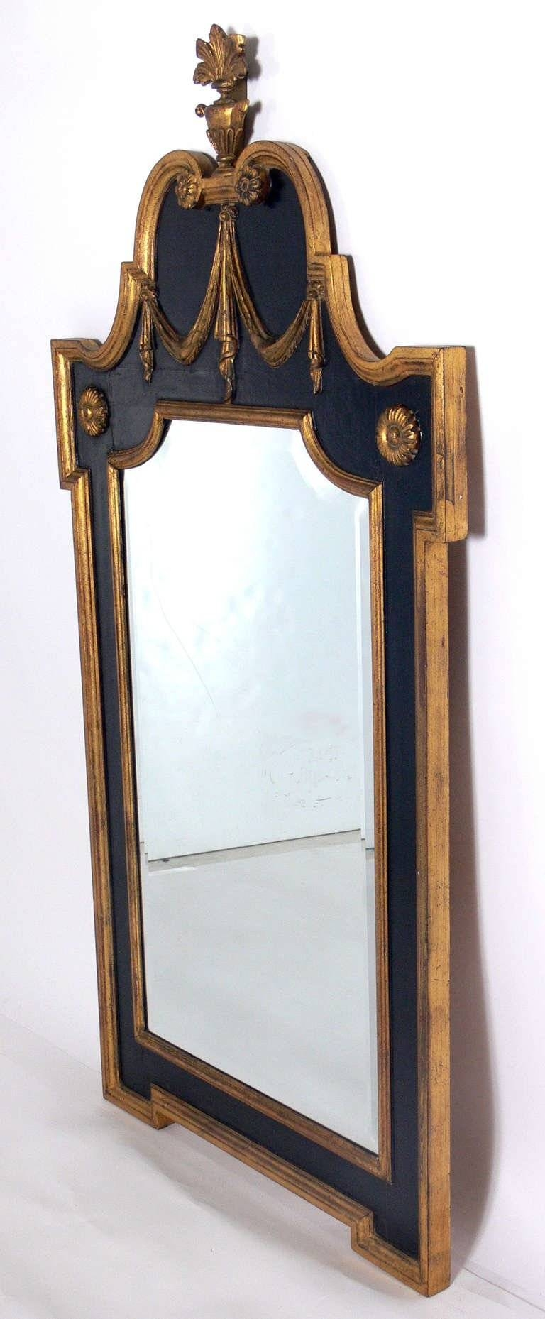 Neoclassical Gold And Black Mirror For Sale At 1Stdibs within Antique Black Mirrors (Image 10 of 15)