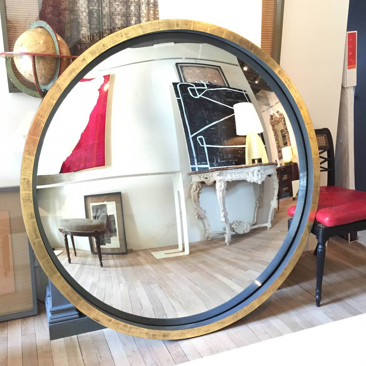 Neoclassical Grey Bole And Giltwood Convex Mirror At 1Stdibs with Convex Mirrors (Image 9 of 15)