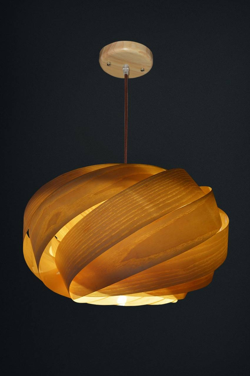 Nest Wood Veneer Lamps Op2070 Series - Oaklamp with Wood Veneer Pendant Lights (Image 8 of 15)