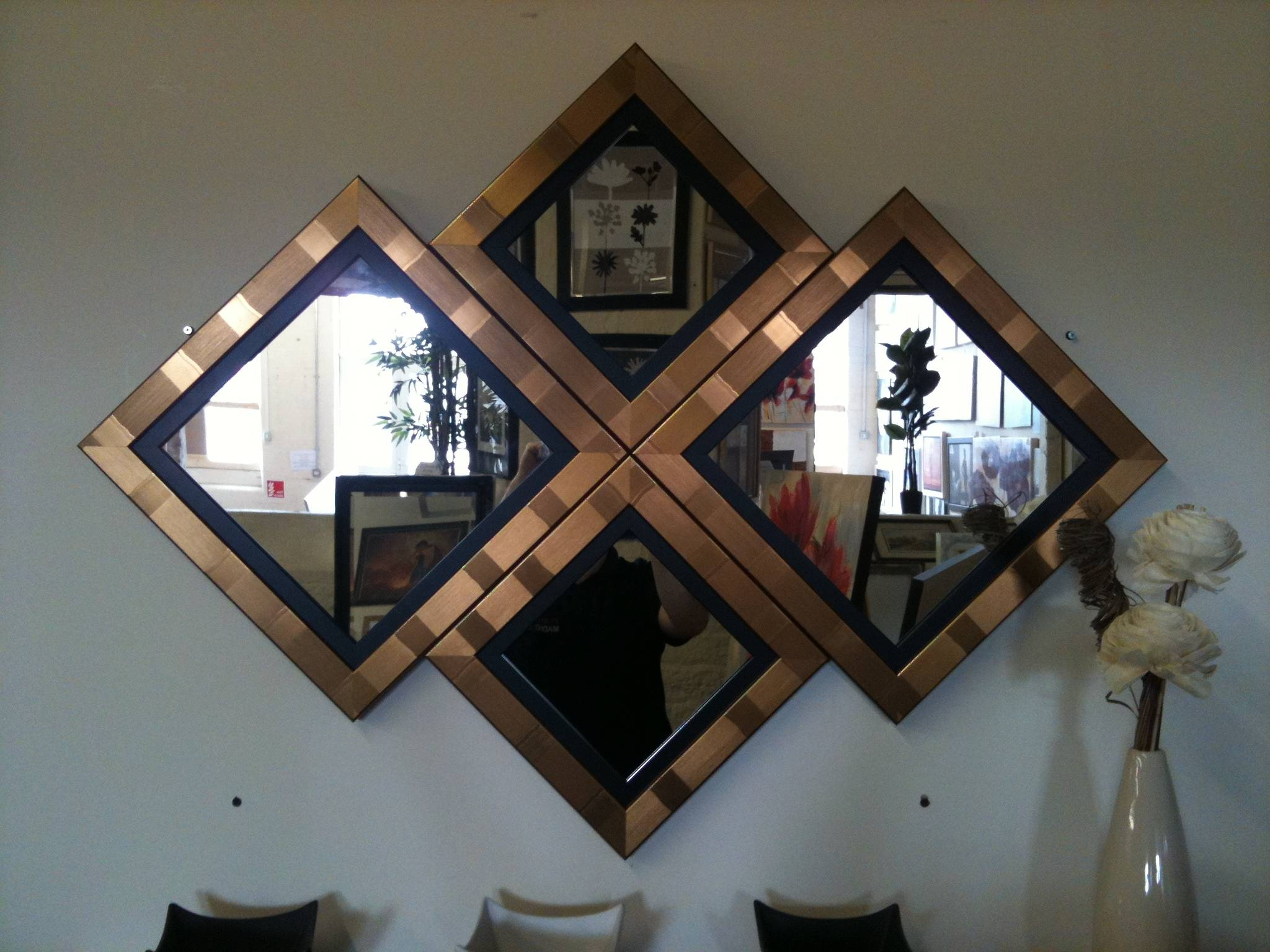 New Gold/black Diamond Wall Mirror 115 X 86 Cm regarding Black and Gold Wall Mirrors (Image 13 of 15)