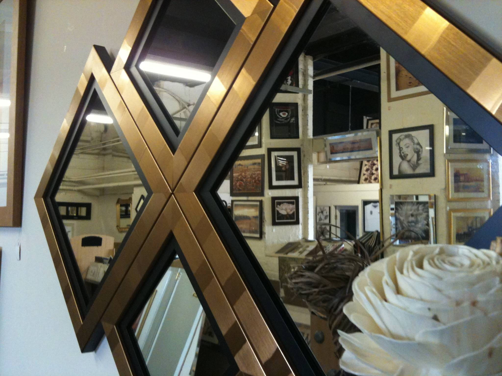 New Gold/black Diamond Wall Mirror 115 X 86 Cm regarding Black and Gold Wall Mirrors (Image 12 of 15)