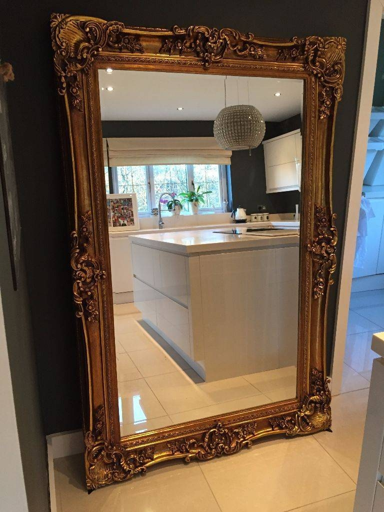New Huge Gold Designer Rococo Ornate Large Leaner Mirror Floor Within Rococo Floor Mirrors (View 11 of 15)