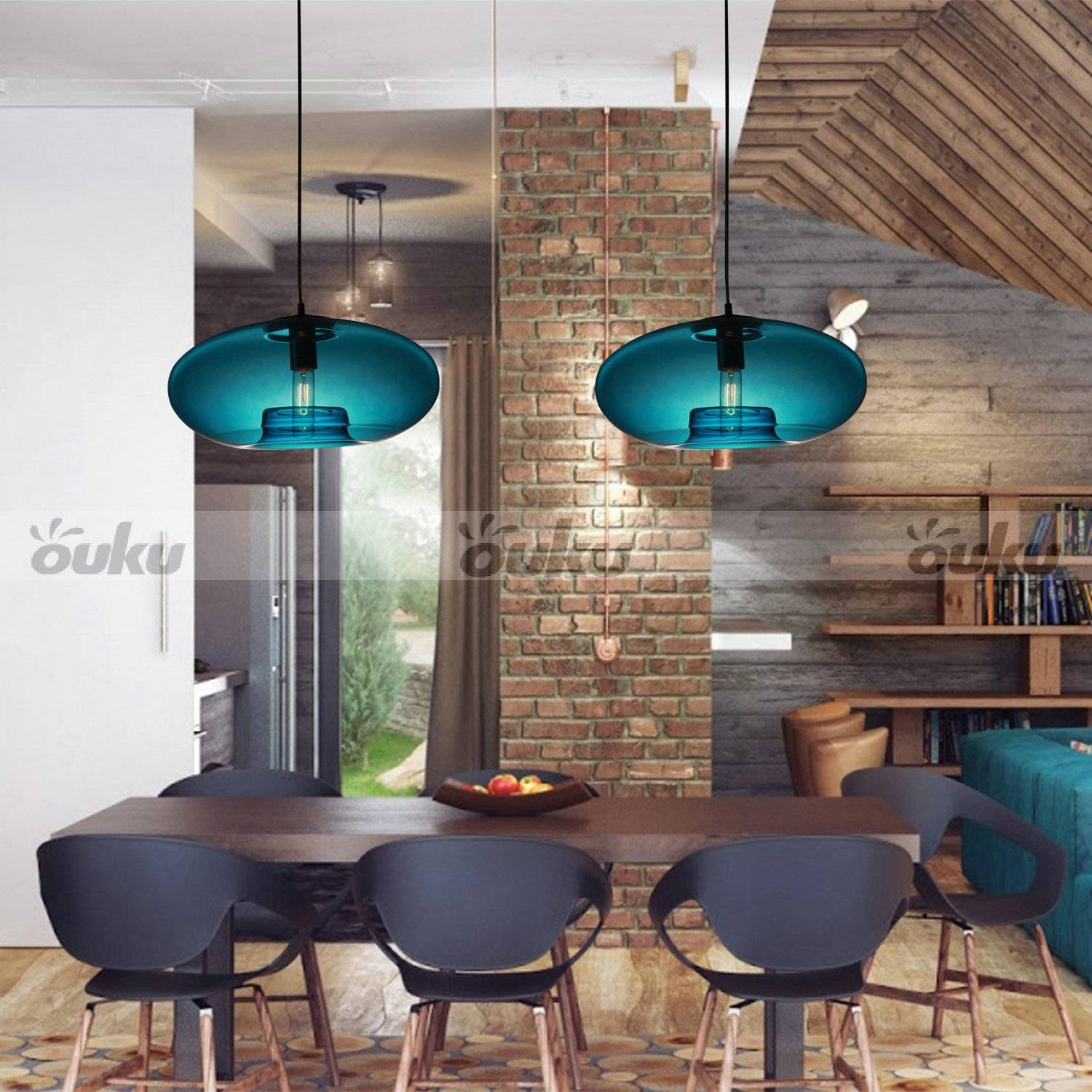 New Modern Contemporary Glass Ball Ceiling Light Lighting Fixture for Turquoise Blue Glass Pendant Lights (Image 7 of 15)