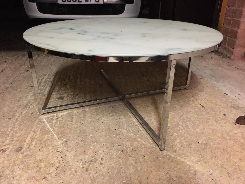 Next Novaro Marble Effect Glass And Chrome Round Coffee Table With