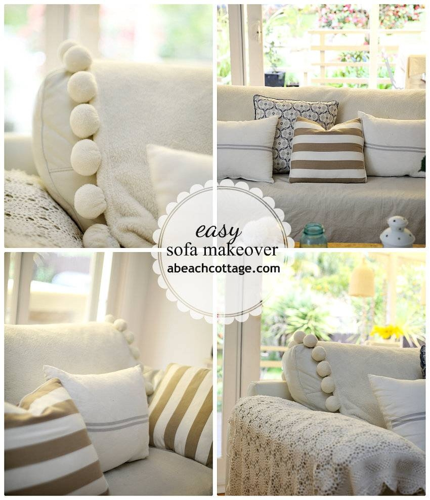 No Sew Sofa Makeover How To Cover A Sofa With Fabric / Drop Cloth within Canvas Sofas Covers (Image 9 of 15)