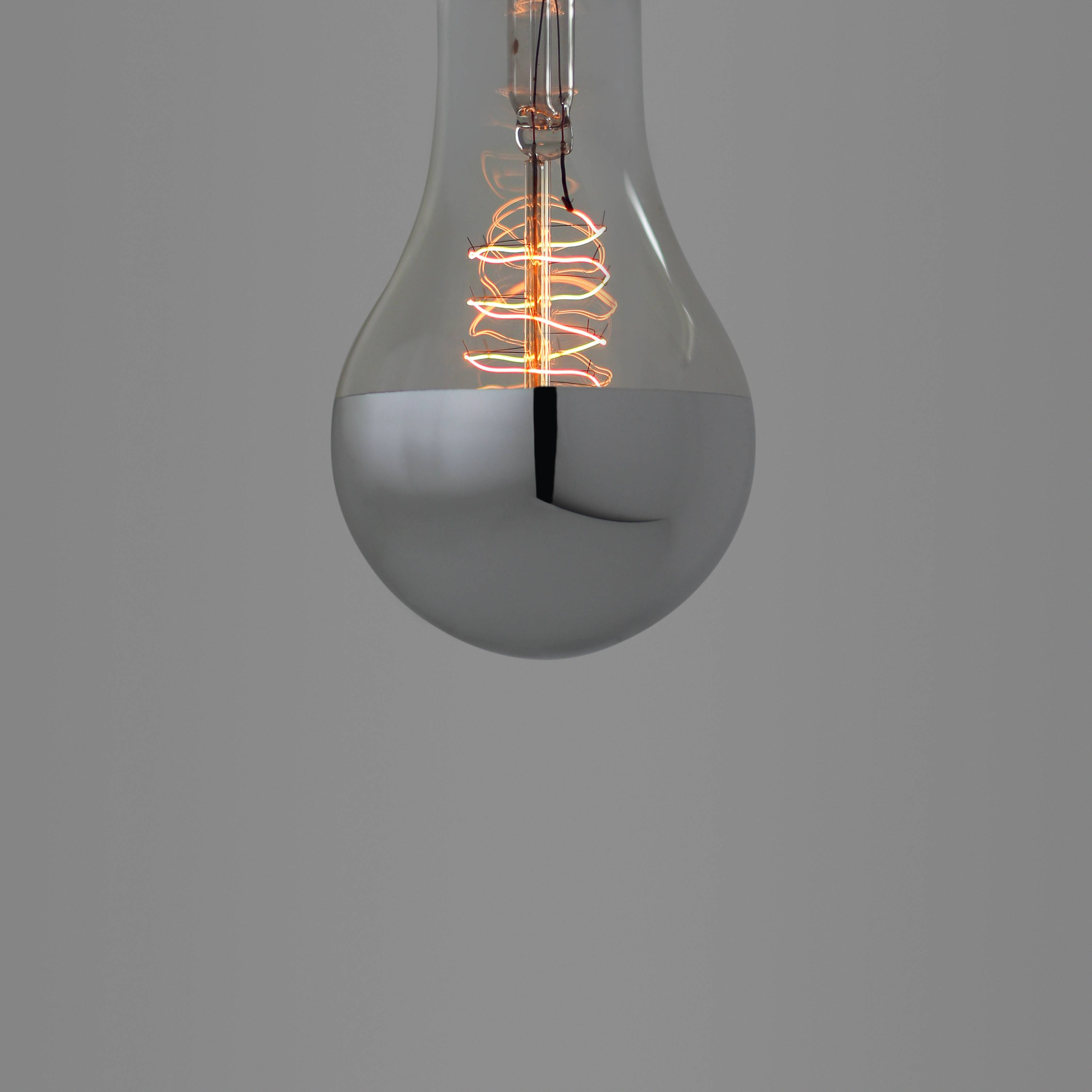 Nostalgia Lights Large Edison Spiral. Silver Cap. E27 | Nook Intended For Giant Lights Bulb Pendants (Photo 9 of 15)