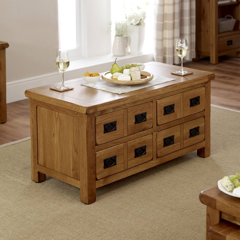 Oak 4 Drawer Storage Coffee Table With Regard To Oak Coffee Table With Storage (View 8 of 15)
