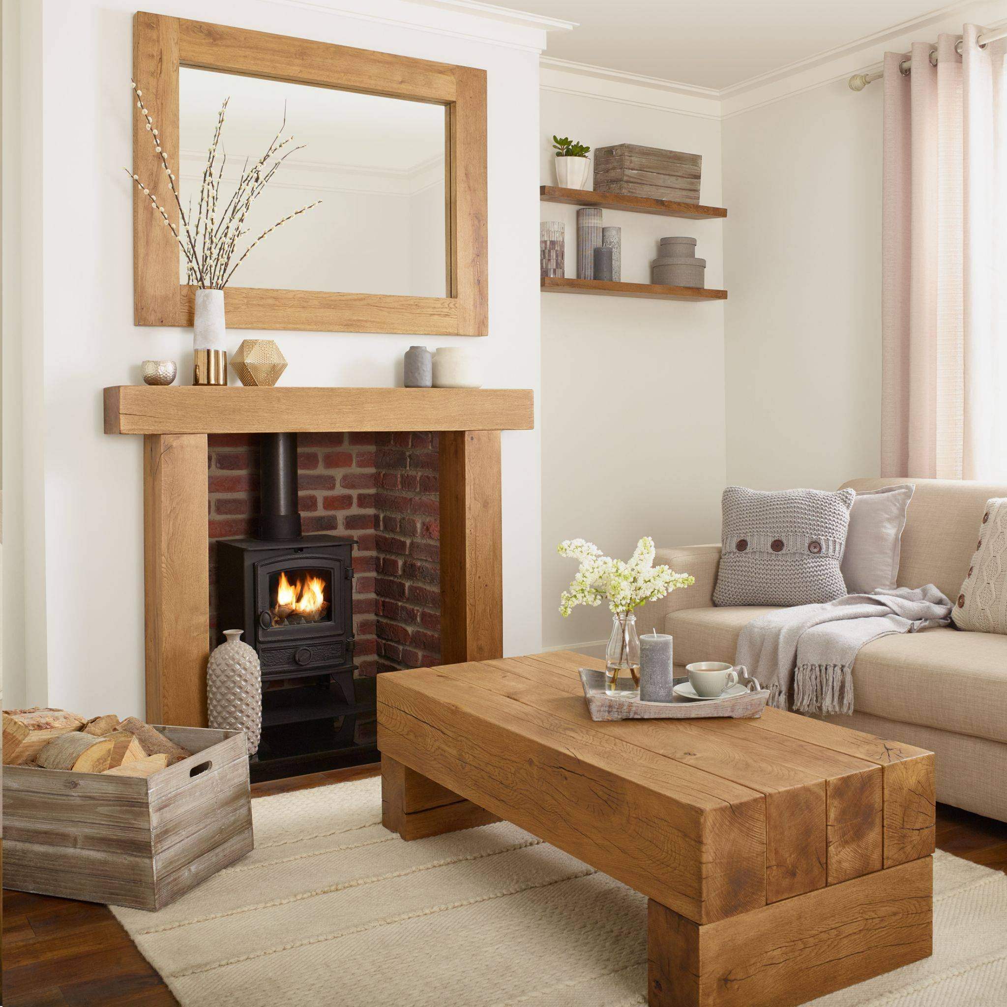 Oak Coffee Table – Banbury Solid French Rustic Beam In Solid Oak Beam Coffee Table (View 9 of 15)
