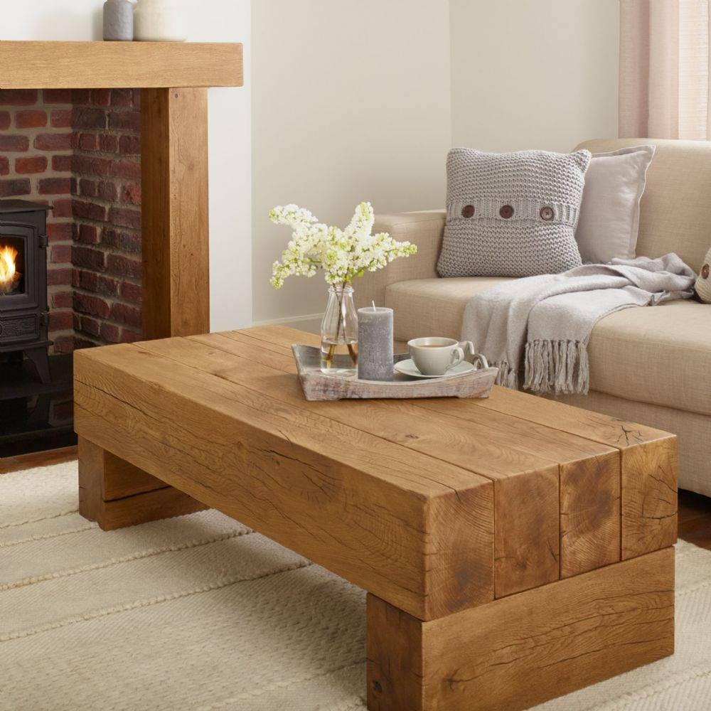 Oak Coffee Table - Banbury Solid French Rustic Beam throughout Oak Beam Coffee Tables (Image 8 of 15)