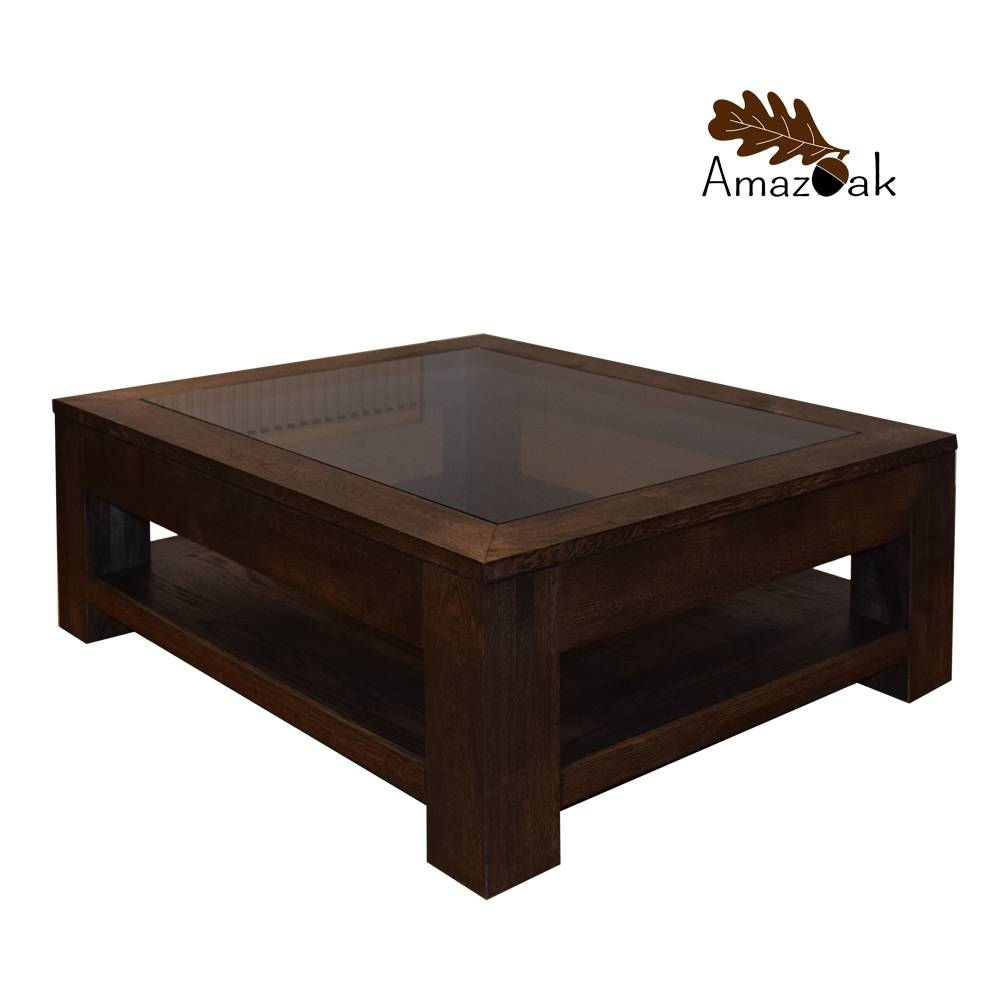 Oak Coffee Table Glass Top Display Shelf - Amazoak with regard to Oak Coffee Table With Glass Top (Image 13 of 15)