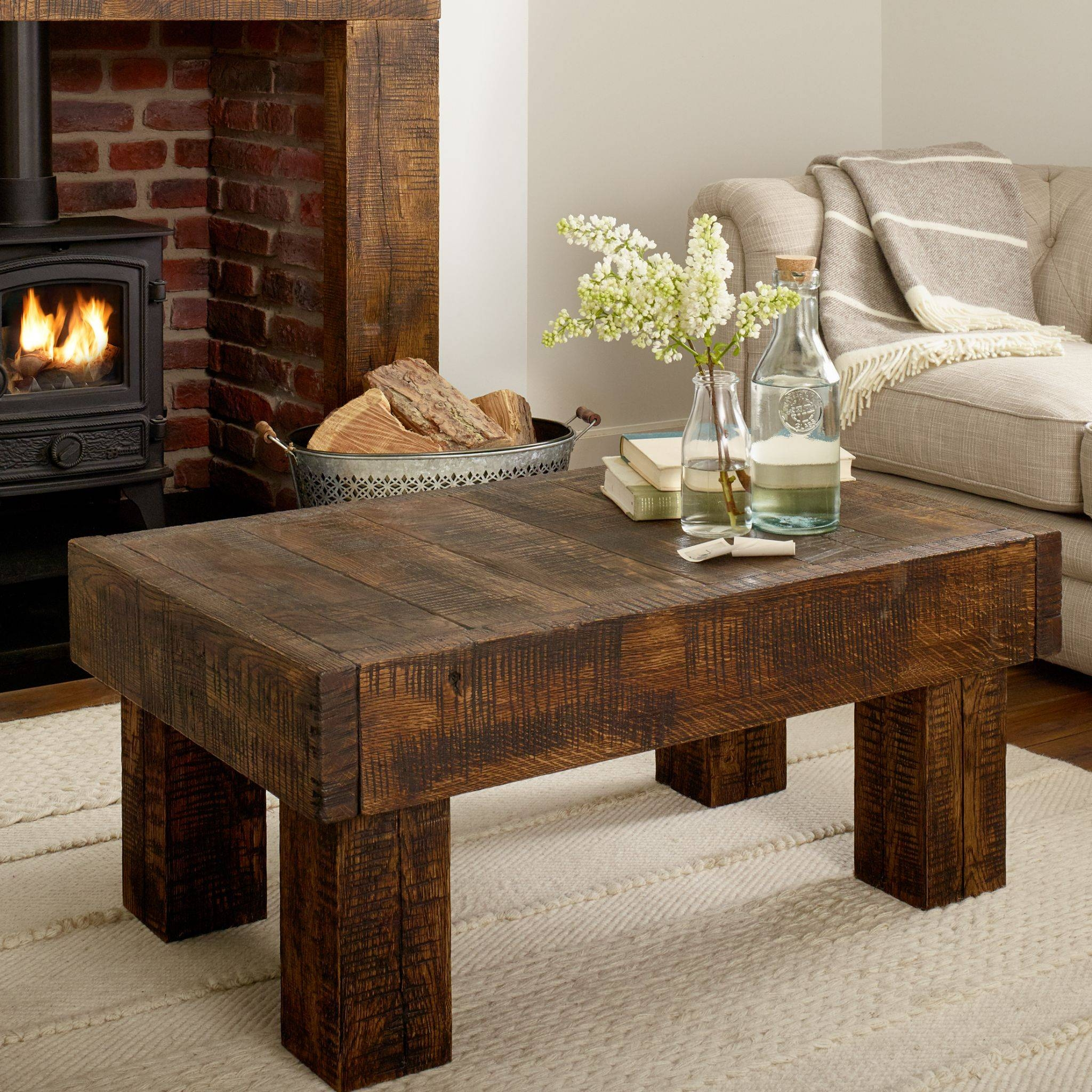Oak Coffee Table Grosvenor Solid French Rustic Beam Intended For Solid Oak Beam Coffee Table (View 13 of 15)