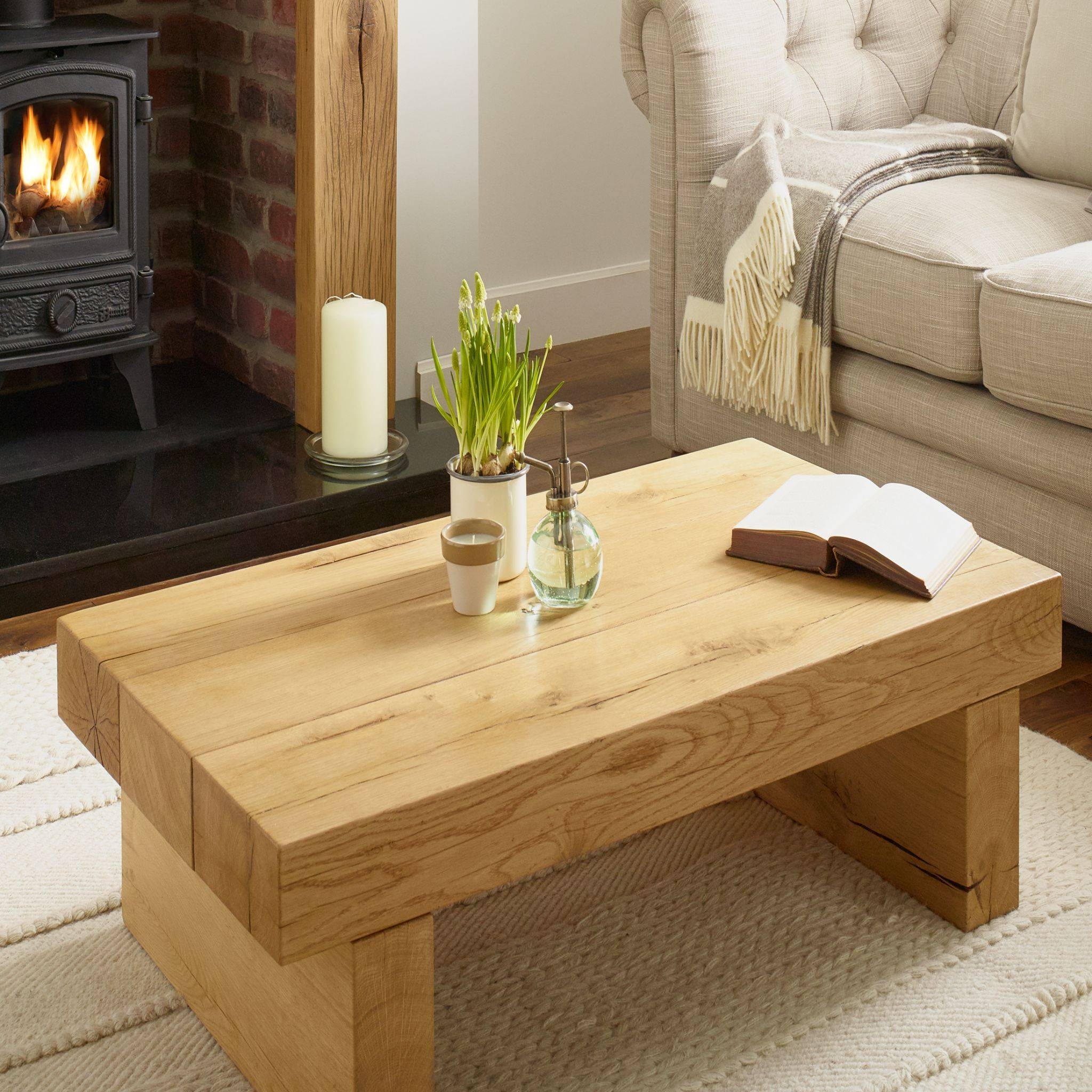 Oak Coffee Table Oxford Solid French Rustic Beam inside Oak Beam Coffee Tables (Image 9 of 15)