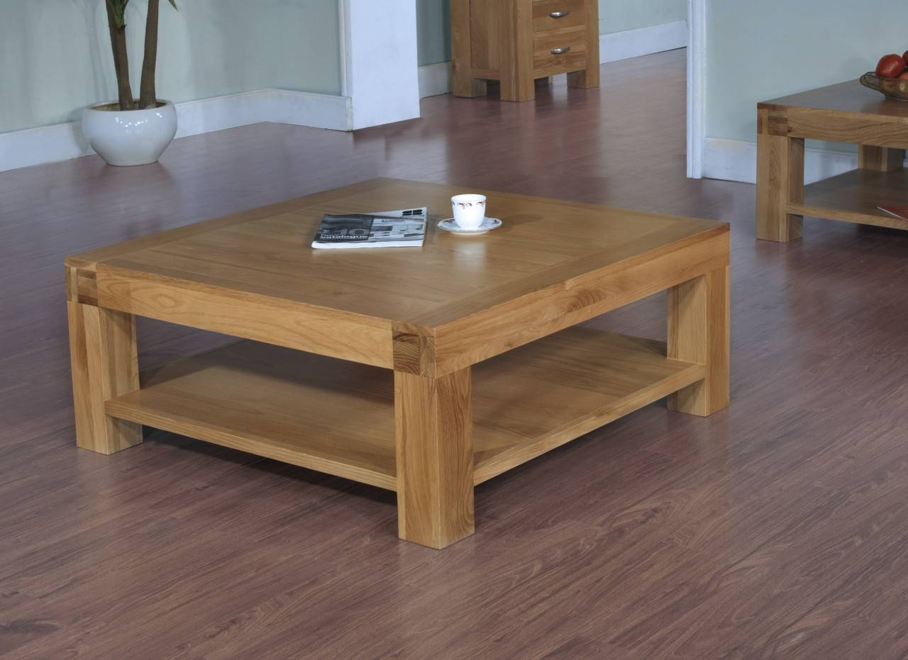 Oak Coffee Table With Shelf / Coffee Tables / Thippo inside Large Square Oak Coffee Tables (Image 9 of 15)