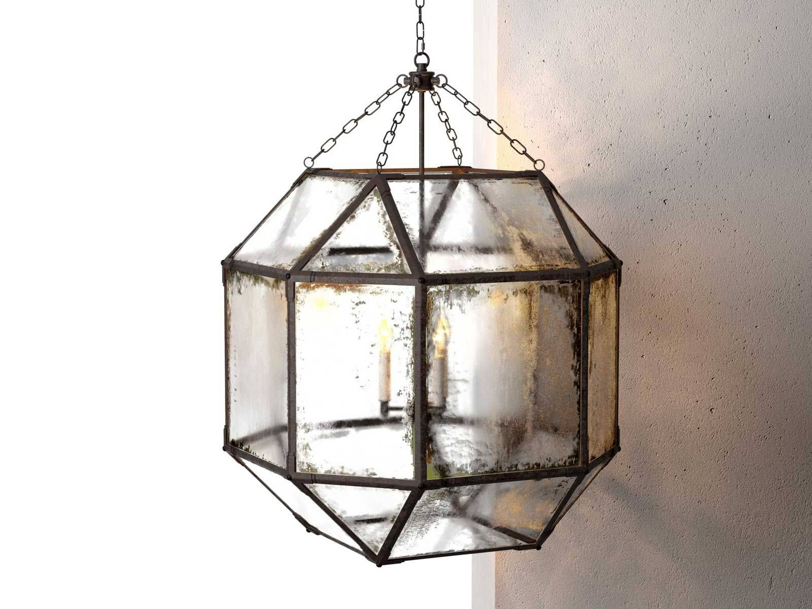 Octagonal Antiqued Mirror Glass Pendant regarding Octagon Pendant Lights (Image 10 of 15)