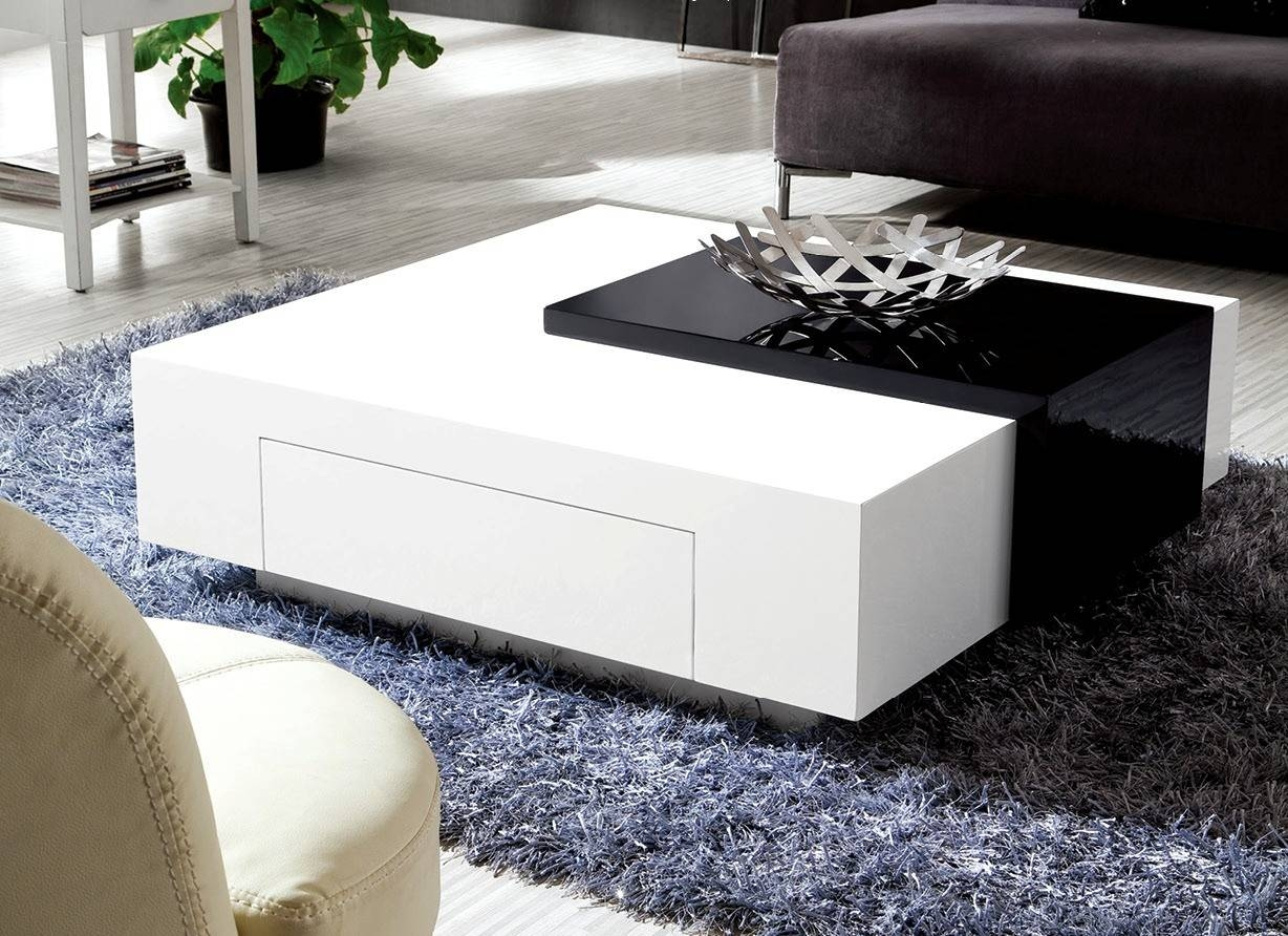 Olympian Sofas Black & White High Gloss Coffee Table - Coffee Tables throughout High Coffee Tables (Image 15 of 15)