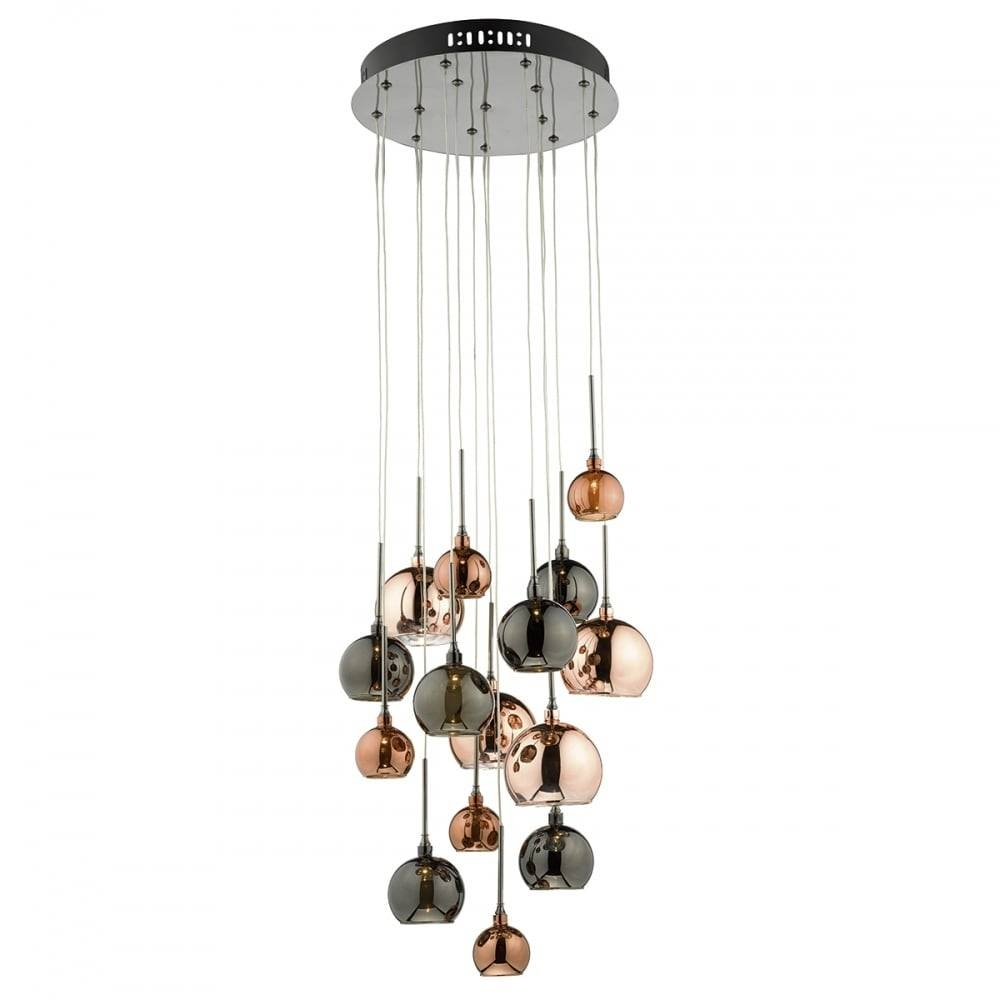 On Trend Lighting. Stairwell Cluster Light Has Copper And Bronze inside Stairwell Lighting Pendants (Image 10 of 15)