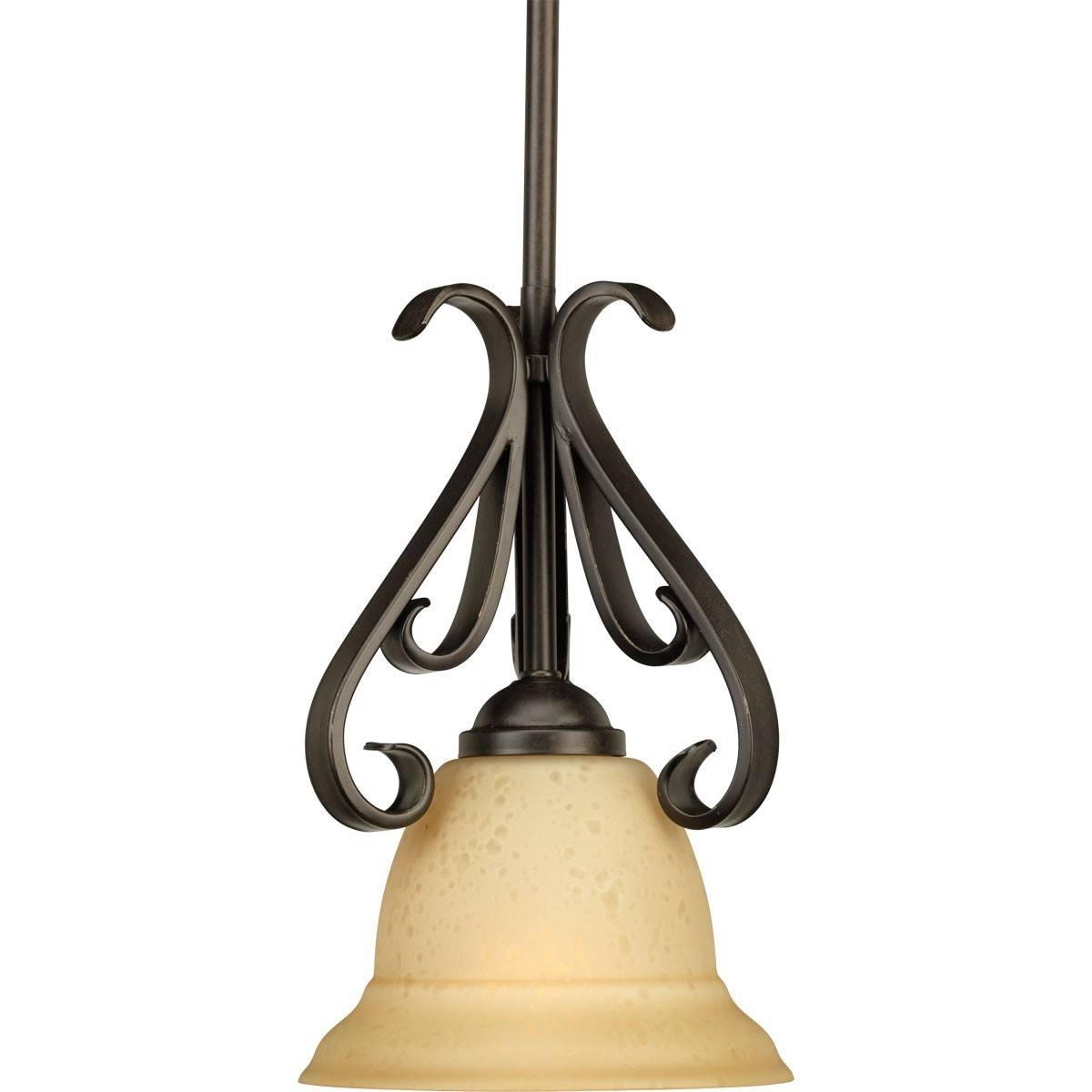 One-Light Stem-Hung Mini-Pendant Light Fixture With Tea Stained intended for Stained Glass Mini Pendant Lights (Image 12 of 15)