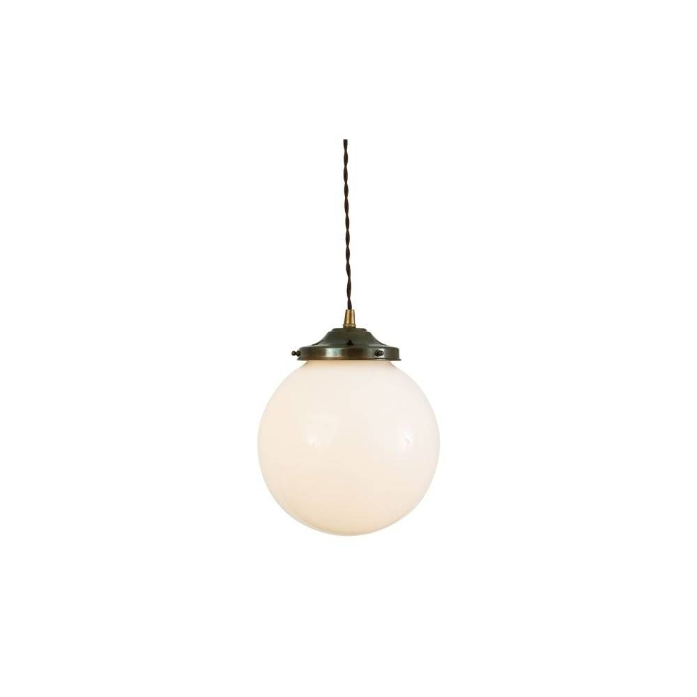 Opal Glass Globe Antique Brass Ceiling Light - Lighting And Lights Uk for Glass Ball Pendant Lights Uk (Image 15 of 15)