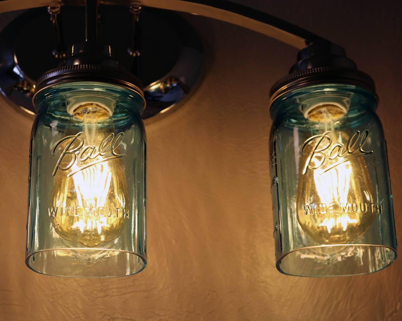 Open Bottom Ball Or Kerr Mason Jar For Lighting Shade Or Crafts within Blue Mason Jar Lights Fixtures (Image 13 of 15)