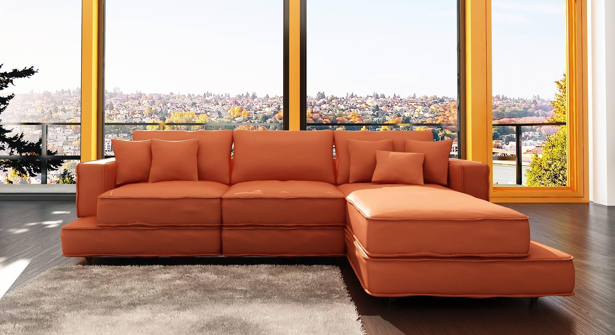 Orange Leather Sofa Bed   Tehranmix Decoration intended for Burnt Orange Leather Sectional Sofas (Image 8 of 15)