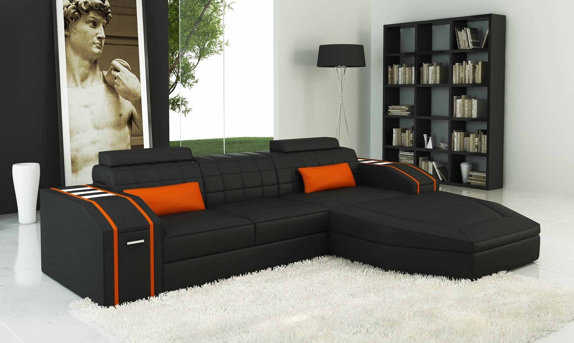 Orange Sofa Design Modern Orange Leather Couch. Orange Sofa Design intended for Orange Sofa Chairs (Image 14 of 15)